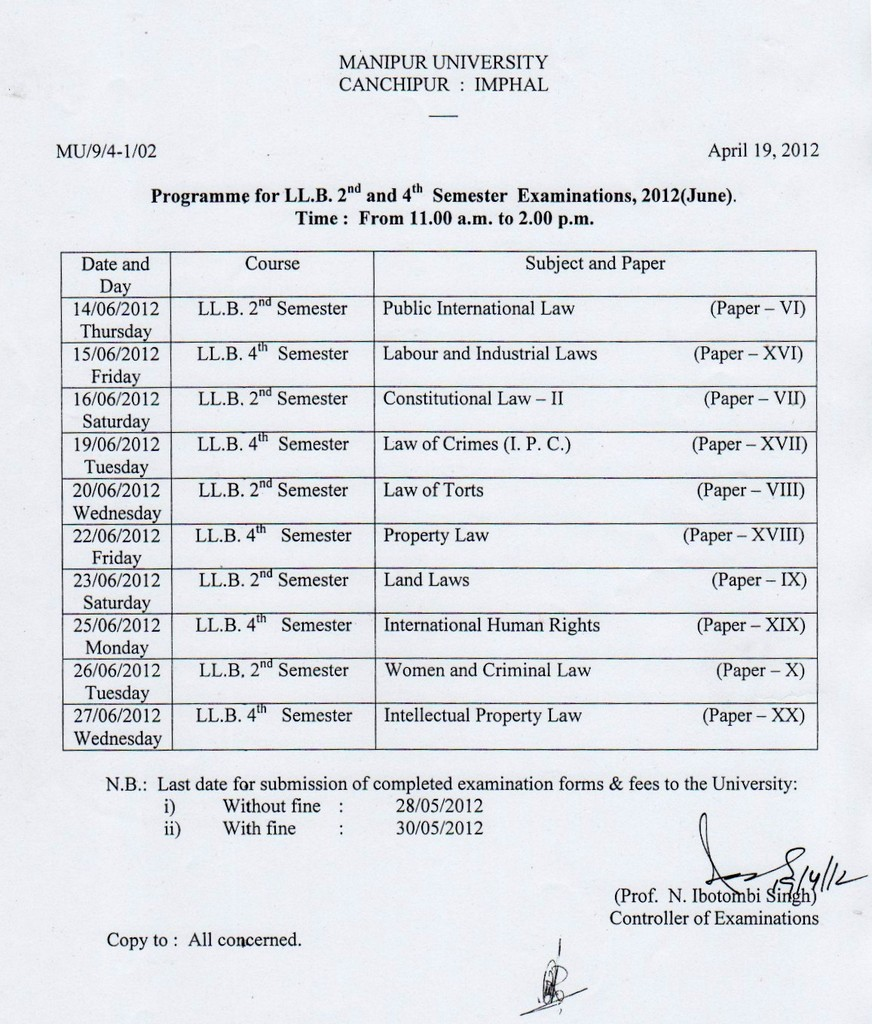 Manipur university llb 2nd and 4th semester exam time for Gtu time table 4 th sem