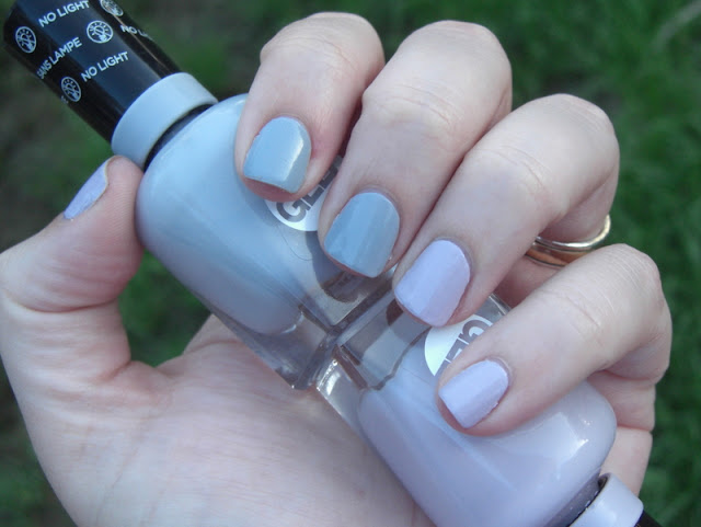 Sally Hansen Miracle Gel Nail Polish Grey-fitti (left two fingers), I Lilac You (right two fingers)
