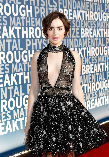 Actress, Model @ Lily Collins - Breakthrough Prize Ceremony in Mountain View