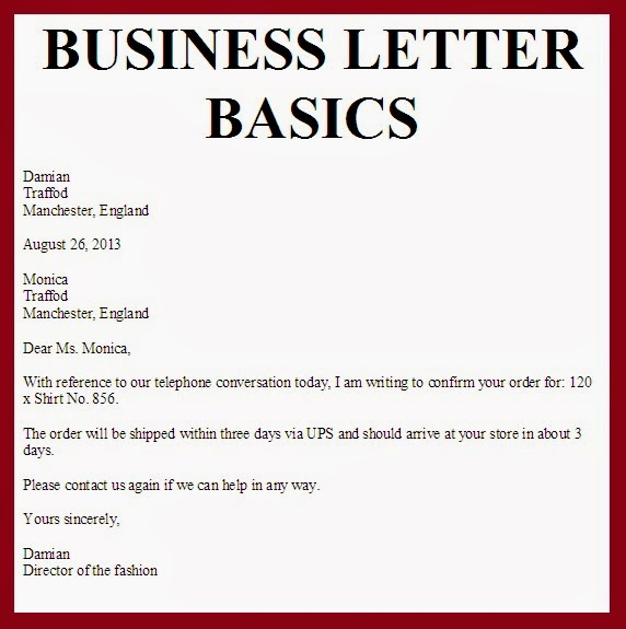 here are business letter basics
