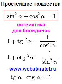 Основные тригонометрические тождества формулы. Теорема Пифагора в тригонометрии. Сумма квадратов синуса и косинуса равна единице. Тангенс умноженный на котангенс равен единице. Математика для блондинок.