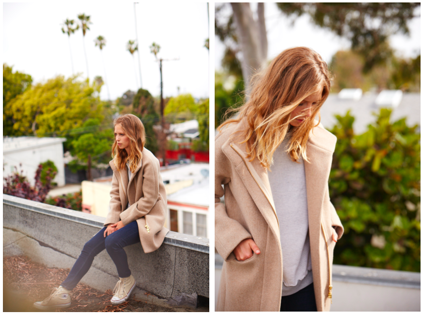 personal style blog post camel coat and grey sweatshirt