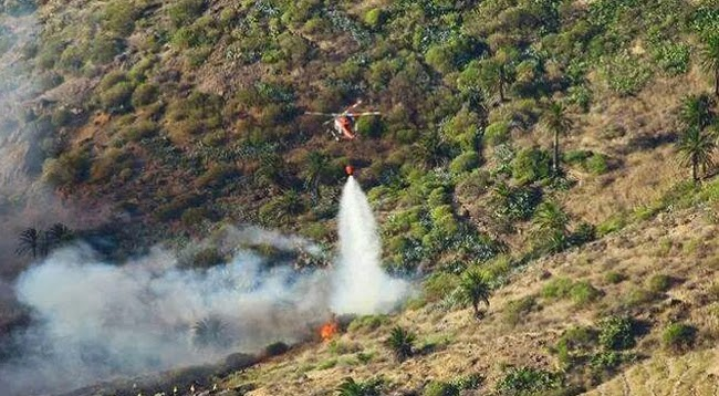 controlado  incendio de Alojera,  Vallehermoso, La Gomera