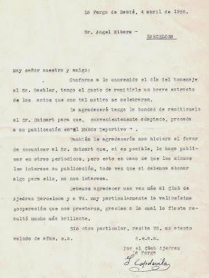 Carta de Isidre Capdevila a Ángel Ribera,1956
