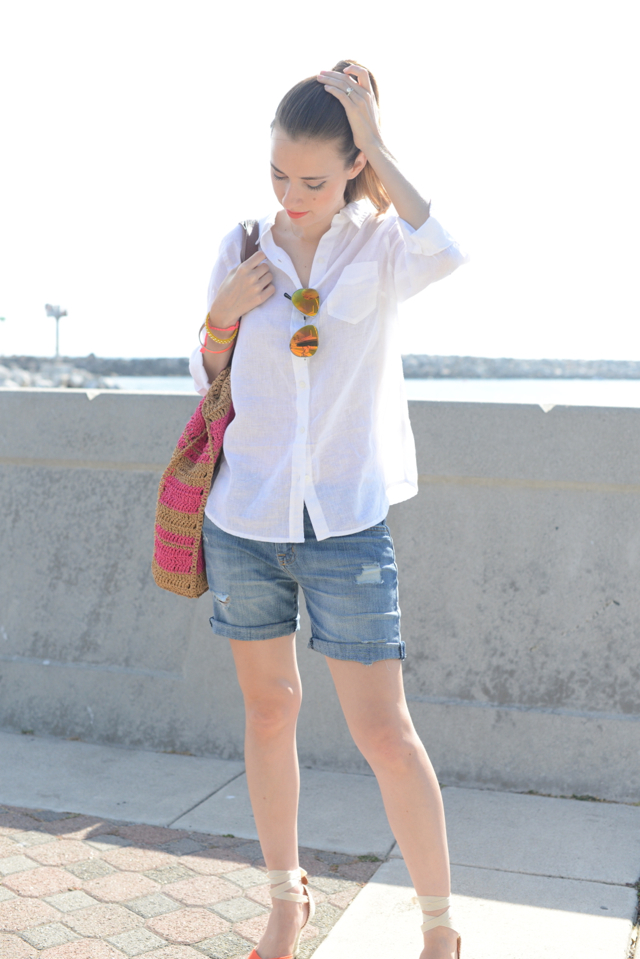 linen button up with jean shorts via M Loves M