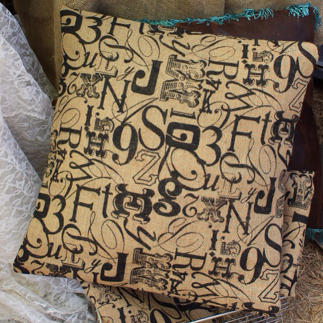 scrambled alphabet burlap pillow