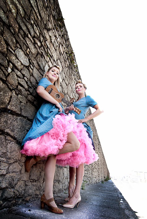 The Mersey Belles Ukulele Duo pose