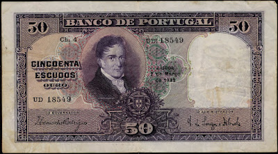 Portuguese banknotes currency 50 Escudos bank note Carneiro