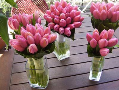 pink tulip centerpieces, pink tulip bridesmaid bouquets