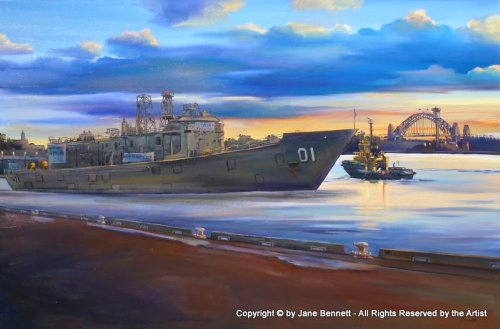 oil painting  of ex-HMAS Adelaide departing Glebe Island wharf at dawn, with the Sydney Harbour Bridge by artist Jane Bennett