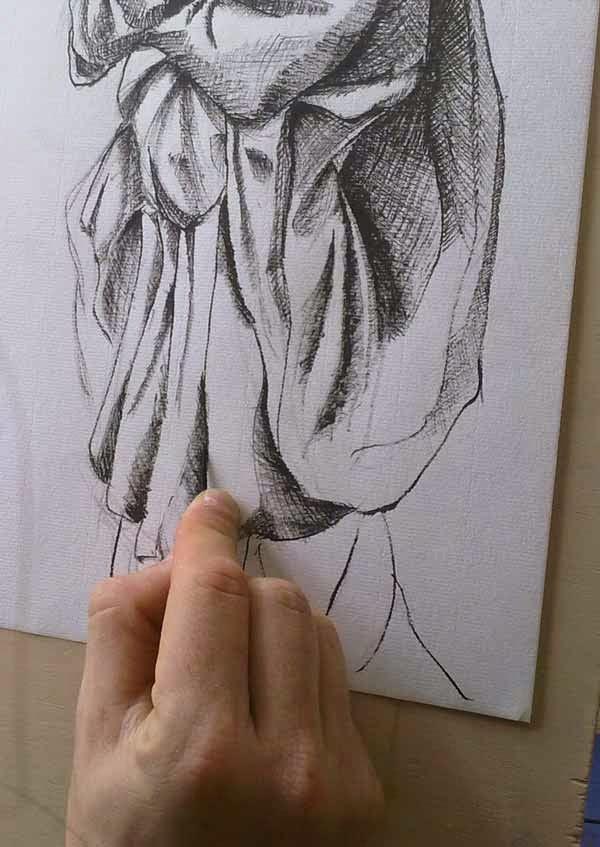 detalle de dibujo con palillo