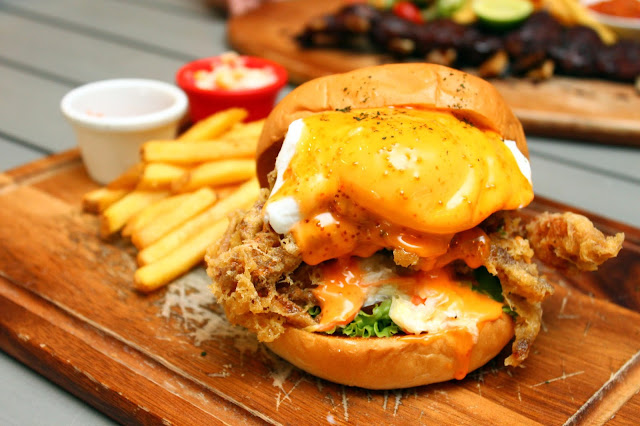 buns and meat soft shell crab burger