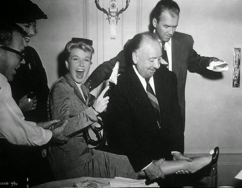 Doris Day, Alfred Hitchcock and James Stewart