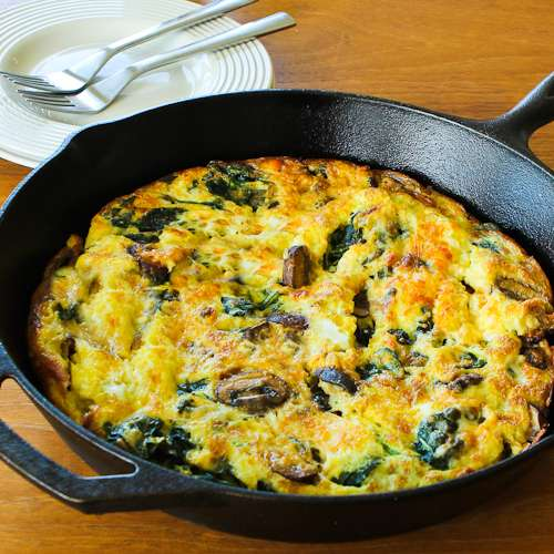 Mushroom Lover&#39;s Frittata with Spinach and Cheese