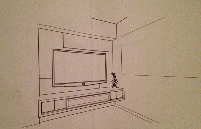 Boringgowhere renovation wedding part 3 2 3d drawing non colour and incomplete Master bedroom tv wall unit