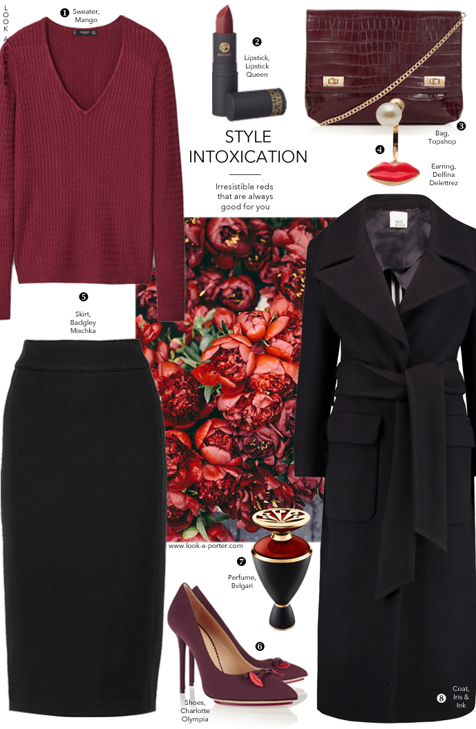Style an office appropriate outfit in marsala, one of the most intoxicating and warm hues of red via www.look-a-porter.com, style & fashion blog outfit inspiration daily