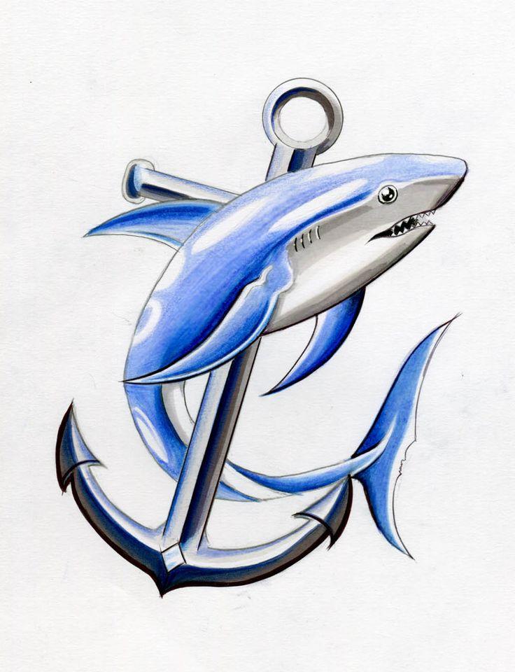 Tatuaje de tiburón en Dibujo