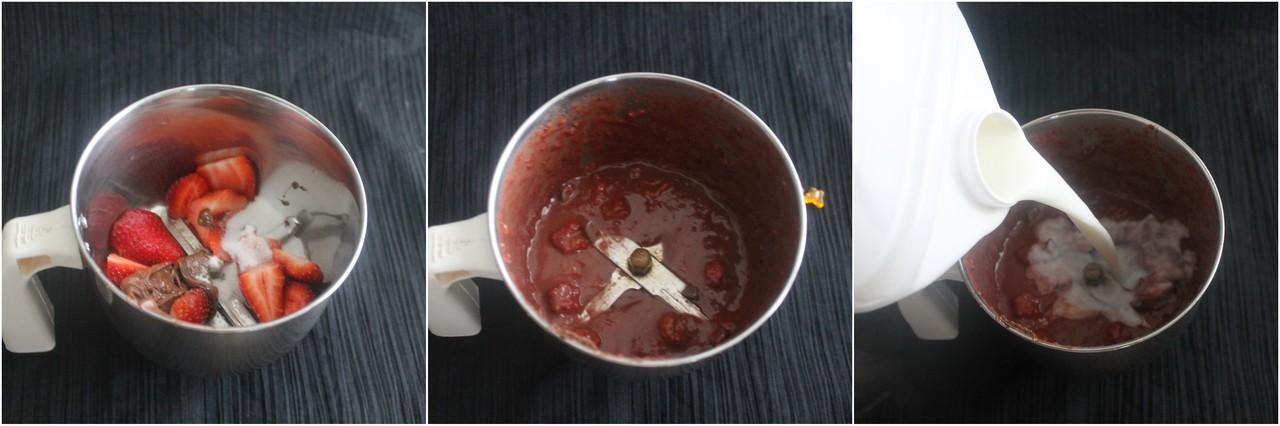 Hot pot cooking: Strawberry nutella milkshake