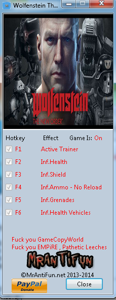 Wolfenstein The New Order V1.0.0.1 Trainer +6 MrAntiFun