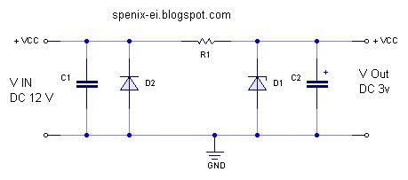penurun tegangan menggunakan dioda zener rangkaian penurun tegangan dc