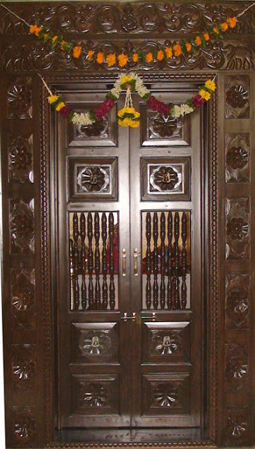 kerala style carpenter works and designs pooja room On pooja room entrance door designs