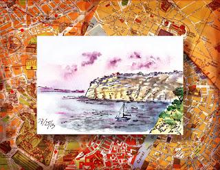 watercolor sketch of Italy
