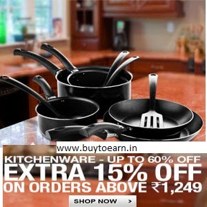 Flipkart: Buy Kitchenware with upto 53% off + exttra 15% off on Rs. 1249