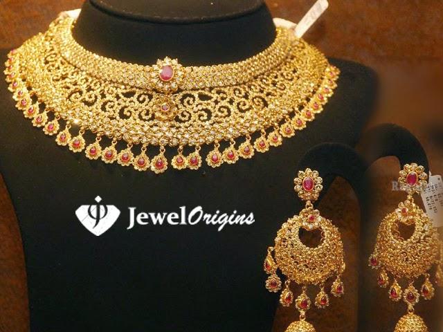 Diamond necklace set by khazana jewellers latest jewellery designs - Jewelorigins Com Indian Designer Gold And Diamond