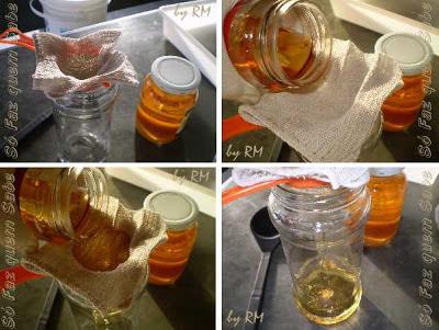Óleo de fritura usado sendo filtrado para se fazer sabão.