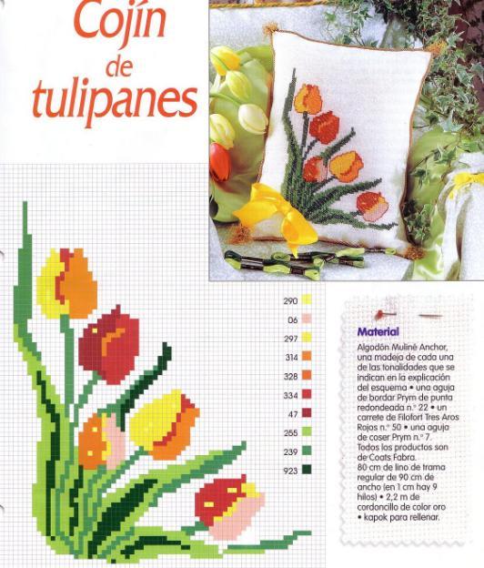 Cojín con tulipanes ~ laboresdeesther Punto de cruz gratis
