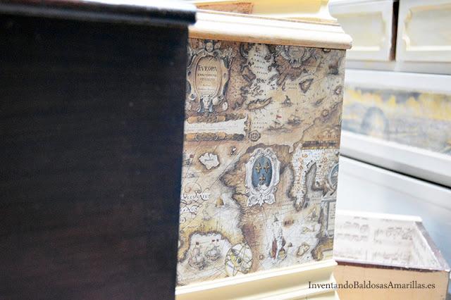 Decorar una mesilla vintage - Papel para forrar muebles leroy merlin ...