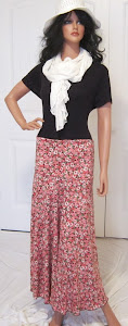 LDS Sister Missionary Maxi Skirt with Retro Coral Flowers