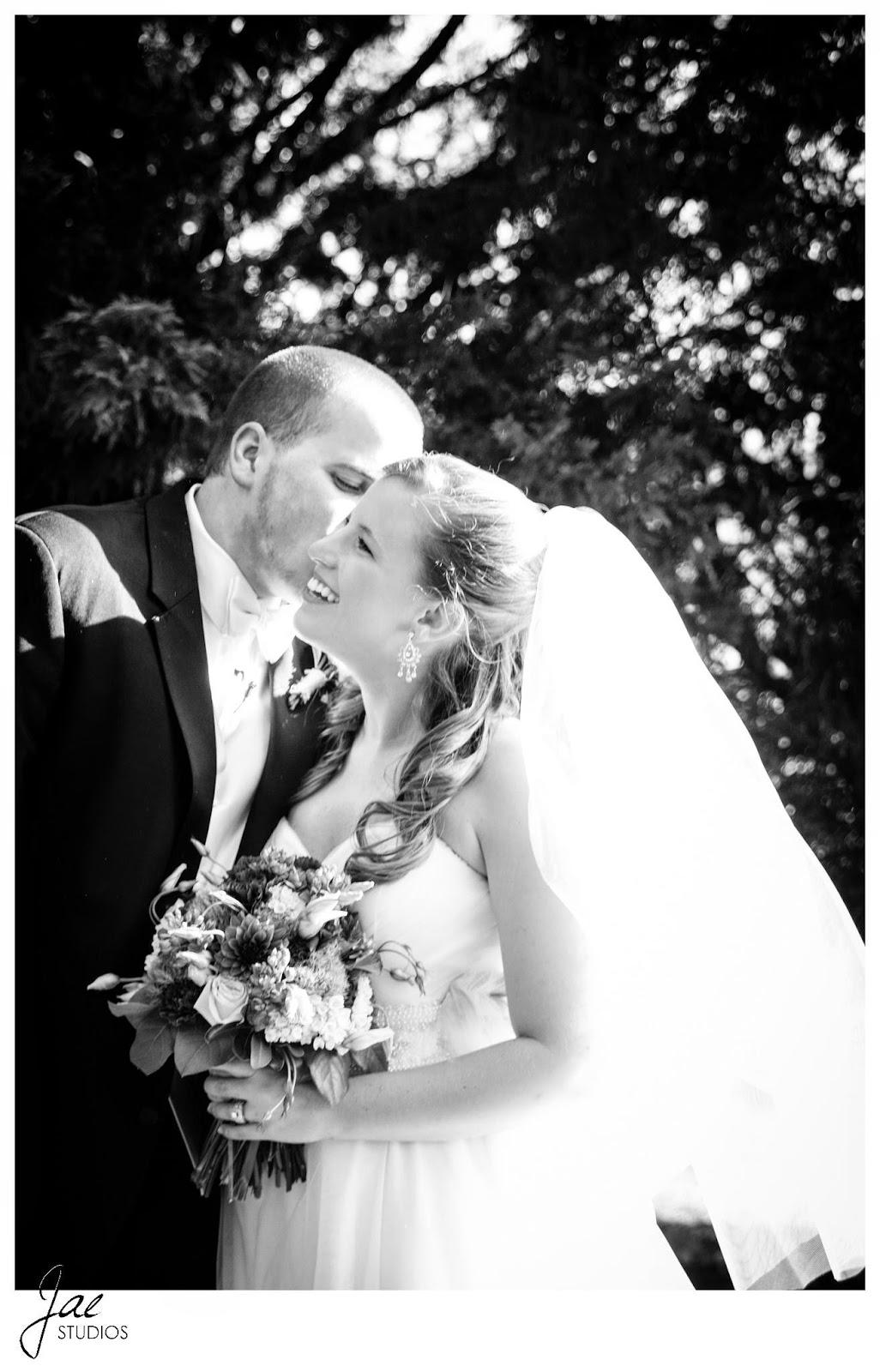 Jonathan and Julie, Bird cage, West Manor Estate, Wedding, Lynchburg, Virginia, Jae Studios, wedding dress, veil, groom, bride, laughing, kiss, flowers, bouquet, black and white