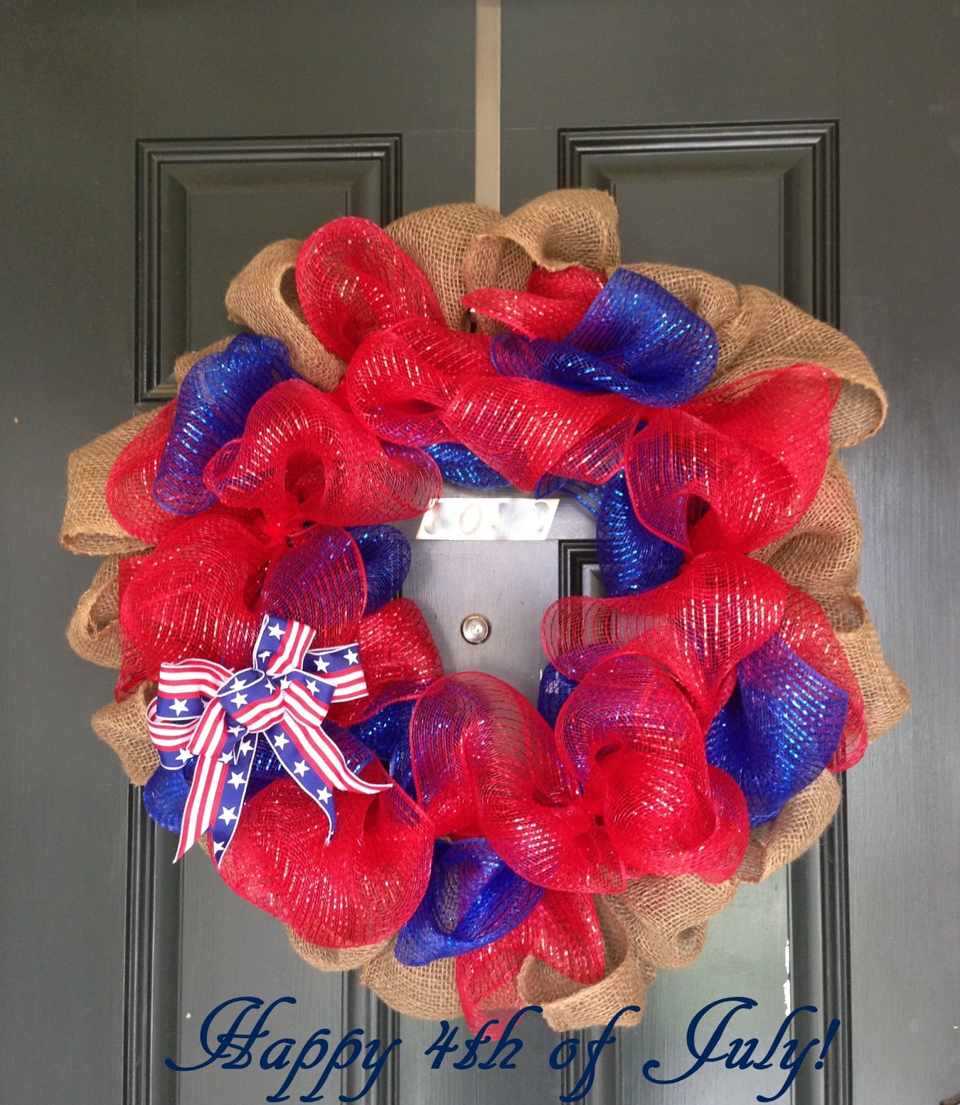 A little bolt of life 4th of july deco mesh wreath diy i love my ribbon wreaths but these deco mesh wreaths have become quite the trend i looked through pinterest to find a good tutorial and give it a try baditri Images