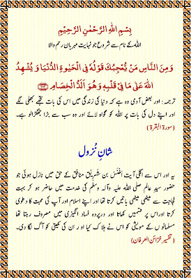 Shaan-e-Nuzool | Surah al-Baqarah, Verse 204