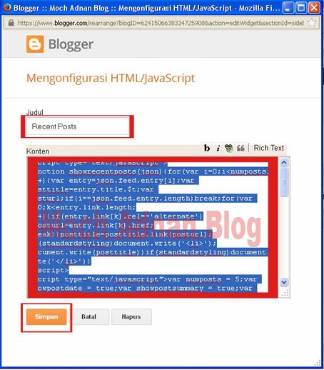 Cara Mudah Membuat Widget Recent Posts/ Artikel Terbaru