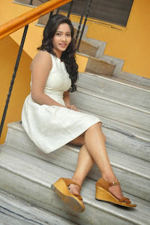 Mithra Telugu actress in sizzling Short white dress at Aloikika Audio Release Function