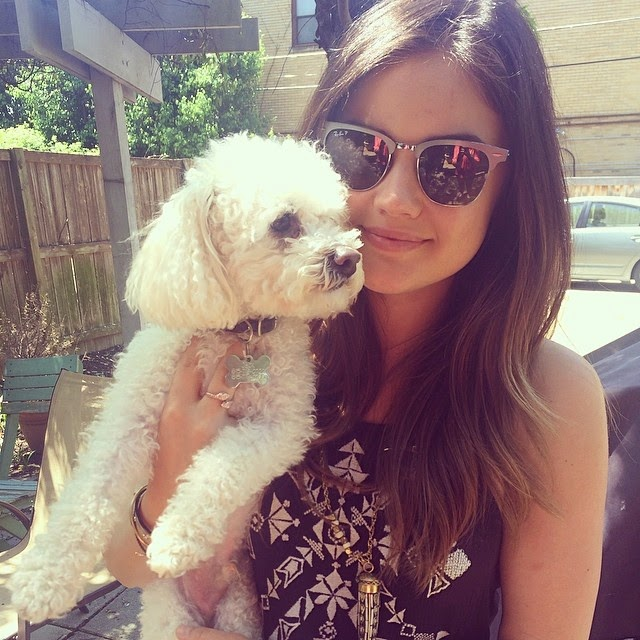 Lucy Hale with her dog Jack MaltiPoo