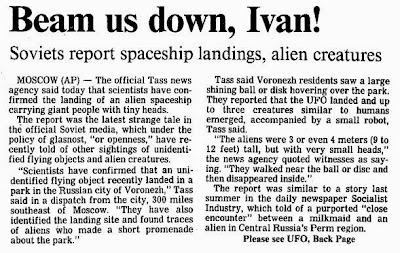 Soviets Report Spaceships Landing, Alien Creatures (pg 1) - Madison Capital Times 10-9-1989