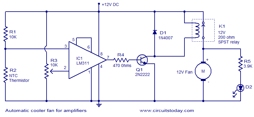 switch on automatic cooler fan for audio lifiers electronic circuit collection