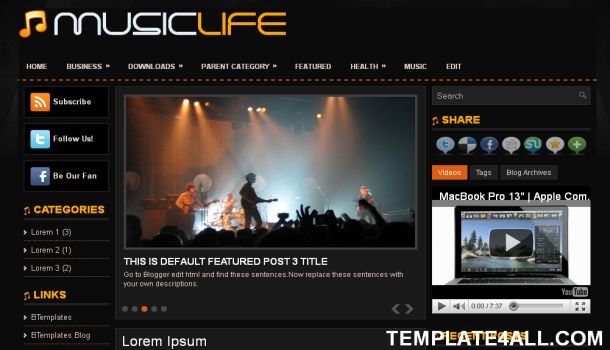 music life black blogger template