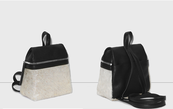 KARA calf and black leather small backpack