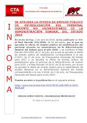 SE APRUEBA LA OFERTA DE EMPLEO PÚBLICO DE ESTABILIZACIÓN DEL PERSONAL DOCENTE NO UNIVERSITARIO DE L