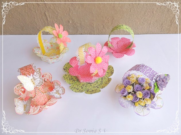 Cards crafts kids projects handmade paper basket tutorial for Easy handmade flowers