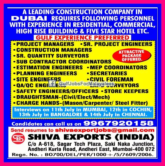 Construction Company Dubai Jobs - Gulf Jobs for Malayalees