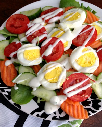 Field Green Salad with Tomatoes, Eggs, Cucumber, and Carrot Chips