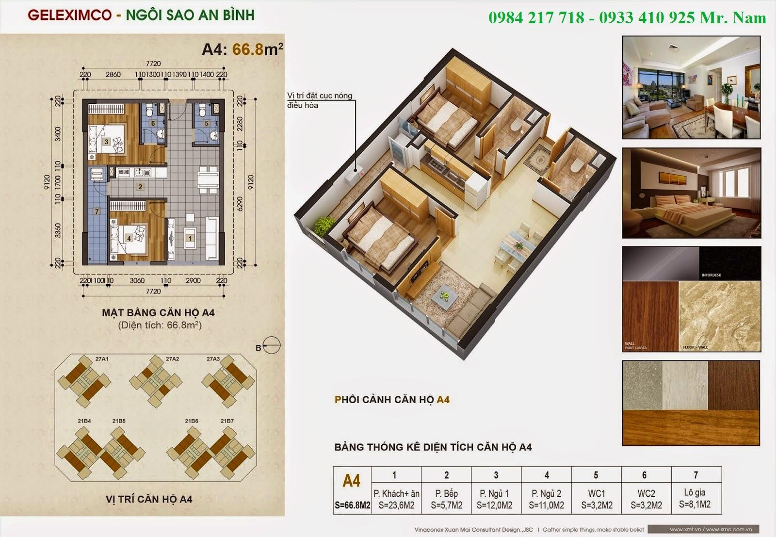 Thiết kế căn hộ A4 diện tích 66.8 m2 chung cư Green Stars
