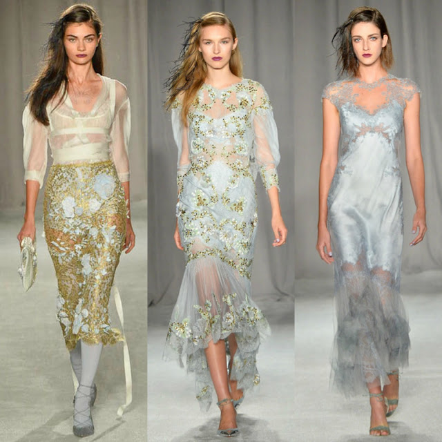 marchesa, fashion week, models, new york fashion week, ss2014, spring 2014, ready to wear, gowns, sheer, appliques, butterfly, 2014, white, gold, fashion updates, fashion, georgina chapman, keren craig, designers, couture, grey, heels