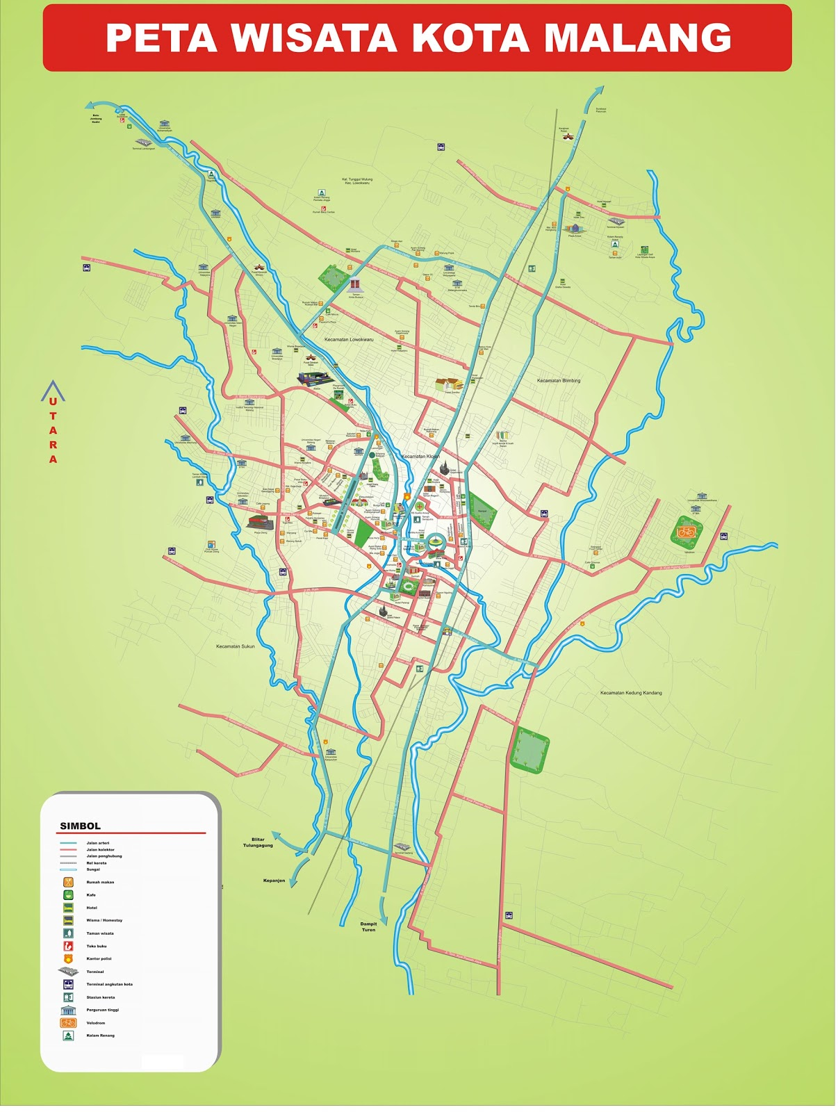AMAZING INDONESIA MALANG CITY AND DISTRICT MAP