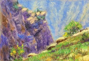 Landscape with mountains done using soft pastels by Manju Panchal